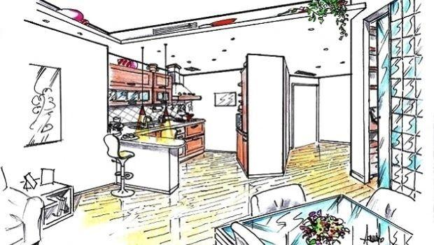Cucina soggiorno open space con divisorio diagonale
