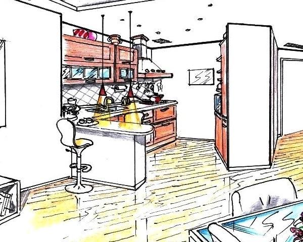 Cucina e soggiorno comunicanti