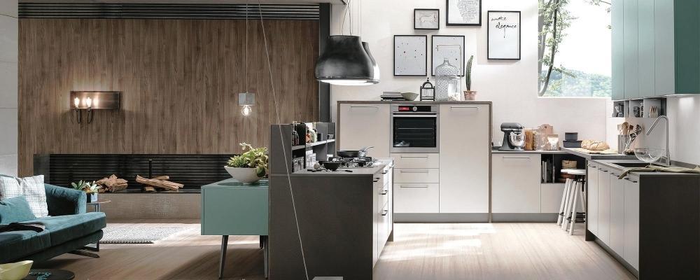 Foto - Cucina soggiorno open space con divisorio diagonale