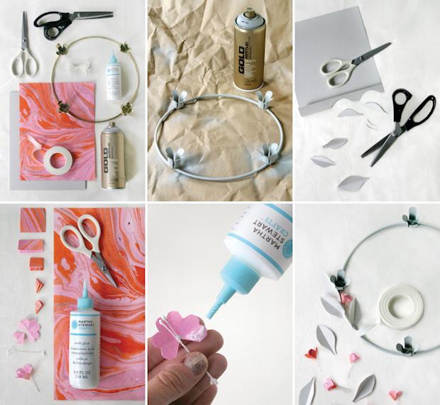 Centrotavola con ghirlanda di carta per la tavola San Valentino: tutorial, da ohhappyday.com