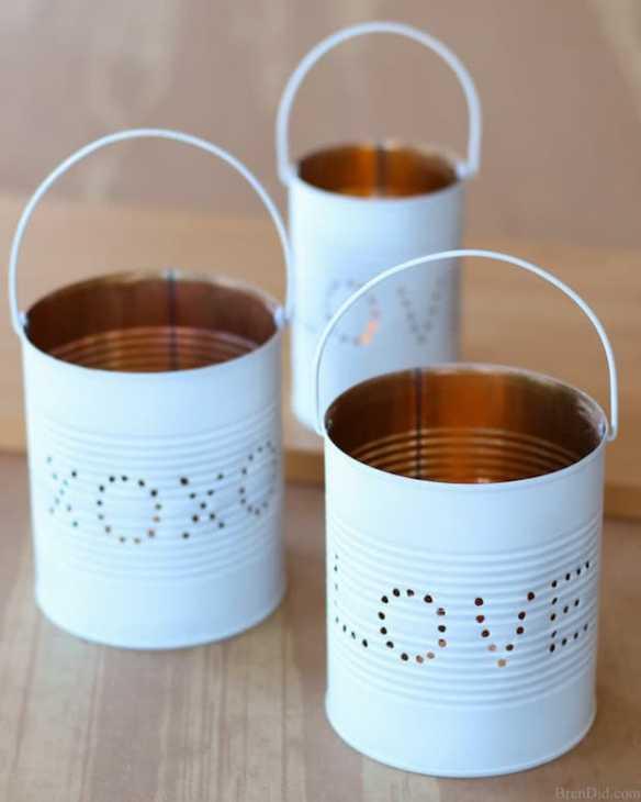 Lanterne fai da te con vecchi barattoli per la cena di San Valentino, da brendid.com