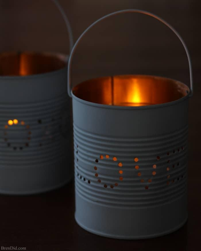 Lanterne fai da te con vecchi barattoli per la cena San Valentino, da brendid.com