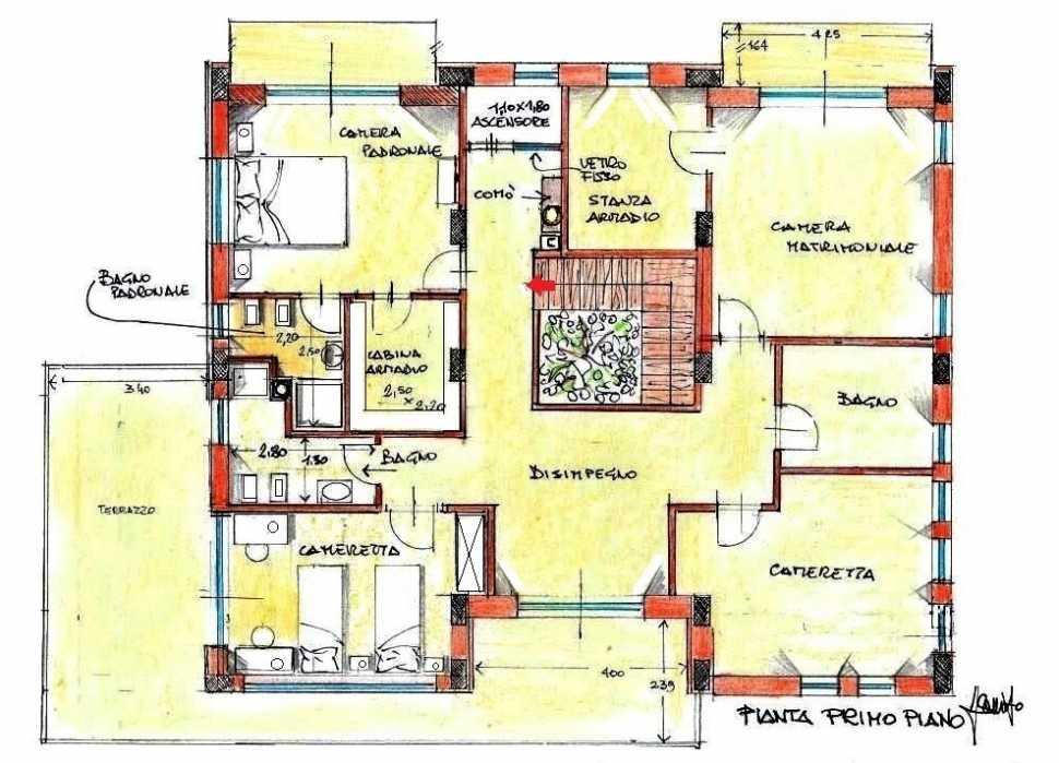 Cabina armadio e stanza armadio: pianta di progetto del piano notte
