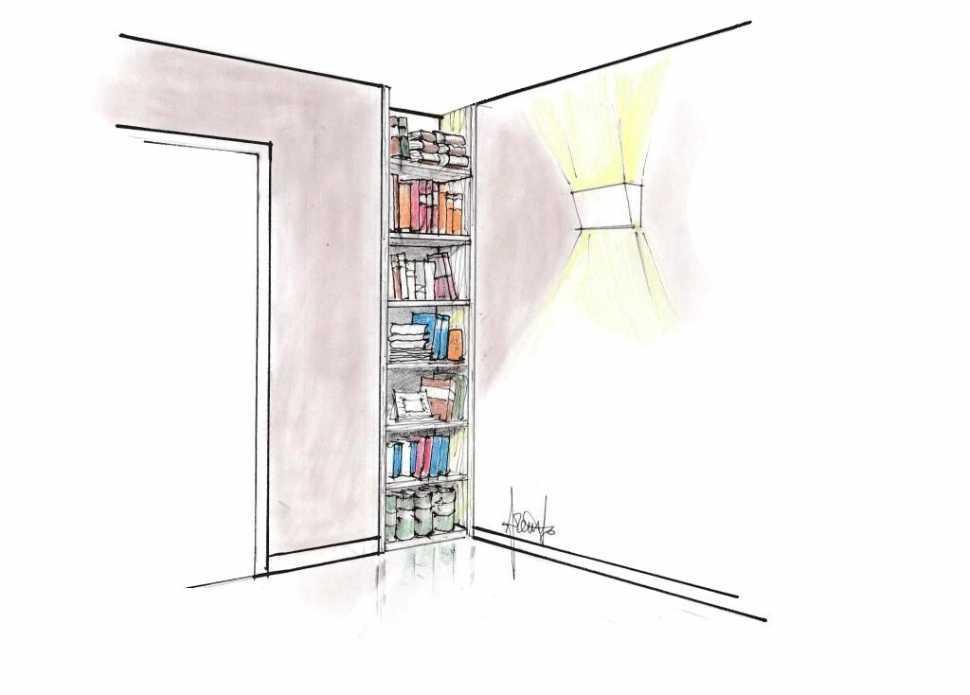 Libreria a colonna incassata a muro