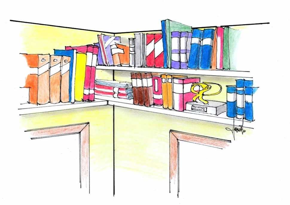 Libreria ricavata a soffitto