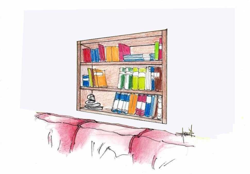 Libreria ricavata in nicchia a parete