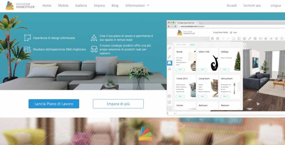Applicazione Android Homestyler per la progettazione