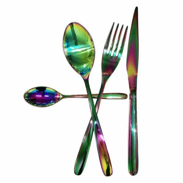 Posate design arcobaleno modello Novecento di Inoxriv