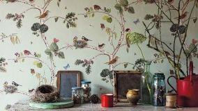 Foglie e fiori per la carta da parati in stile botanico