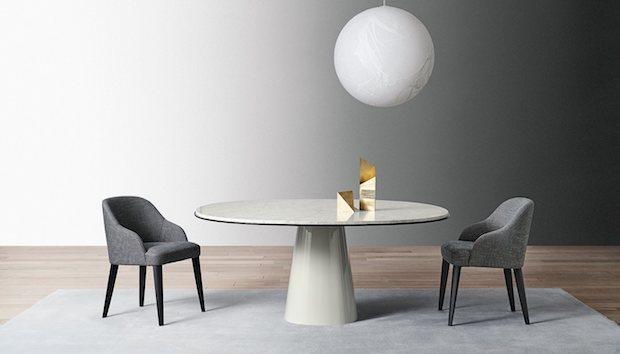 Tavolo rotondo in marmo con finiture personalizzabili, da Meridiani