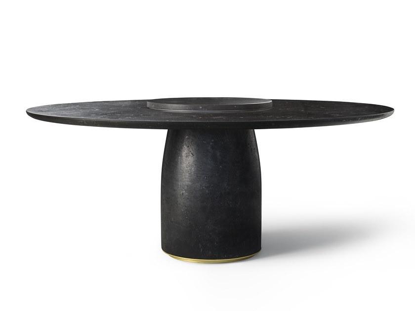 Tavolo rotondo in marmo nero, da Lema