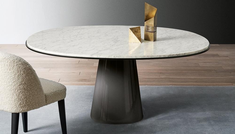 Tavolo rotondo in marmo dalle finiture personalizzabili, da Meridiani