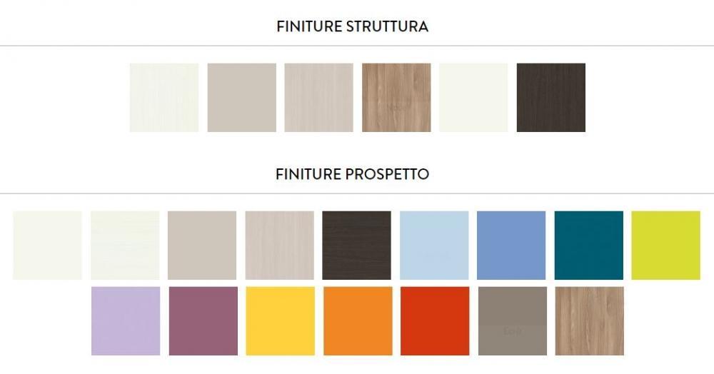 Finiture e colori disponibili per le camerette a ponte della coll. Oliver di ZG