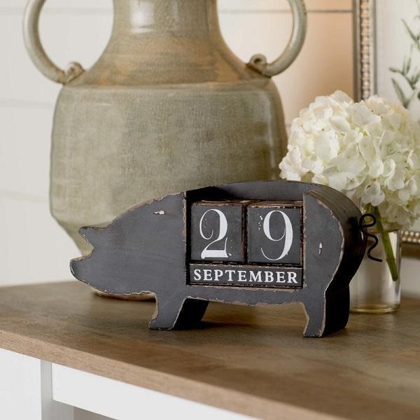 Calendario da tavolo a forma di maiale, da dottorgadget