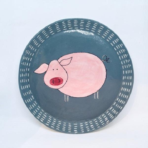 Piatti con disegno maiale, da Etsy