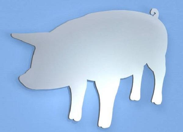Specchio sagoma maiale, da Etsy