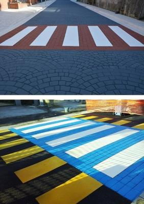 Attraversamenti pedonali in asfalto stampato e colorato, by RAS