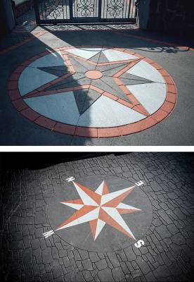 Rosa dei venti in asfalto colorato e stampato, by RAS