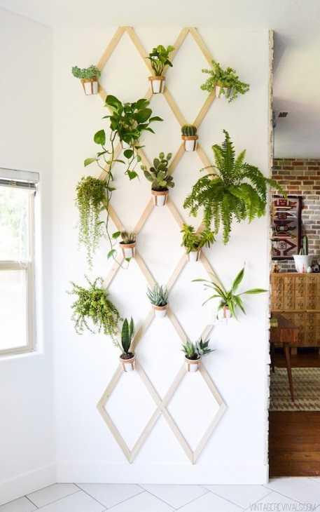 Arredare una parete con le piante, da vintagerevivals.com