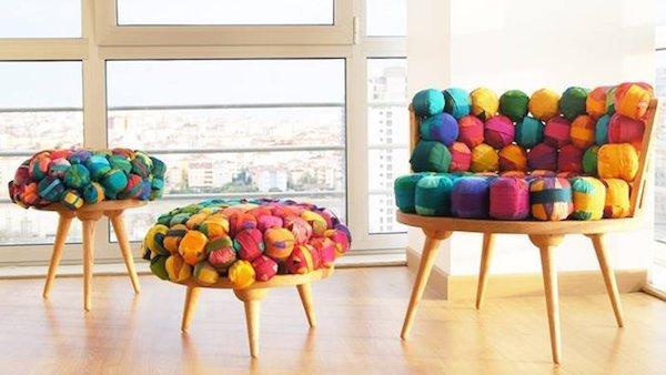 Arredare casa con il riciclo creativo: le sedute in seta di Meb Rure