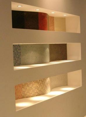 Bagno con mosaici su incavi ondulati - Vietri Ceramic Design