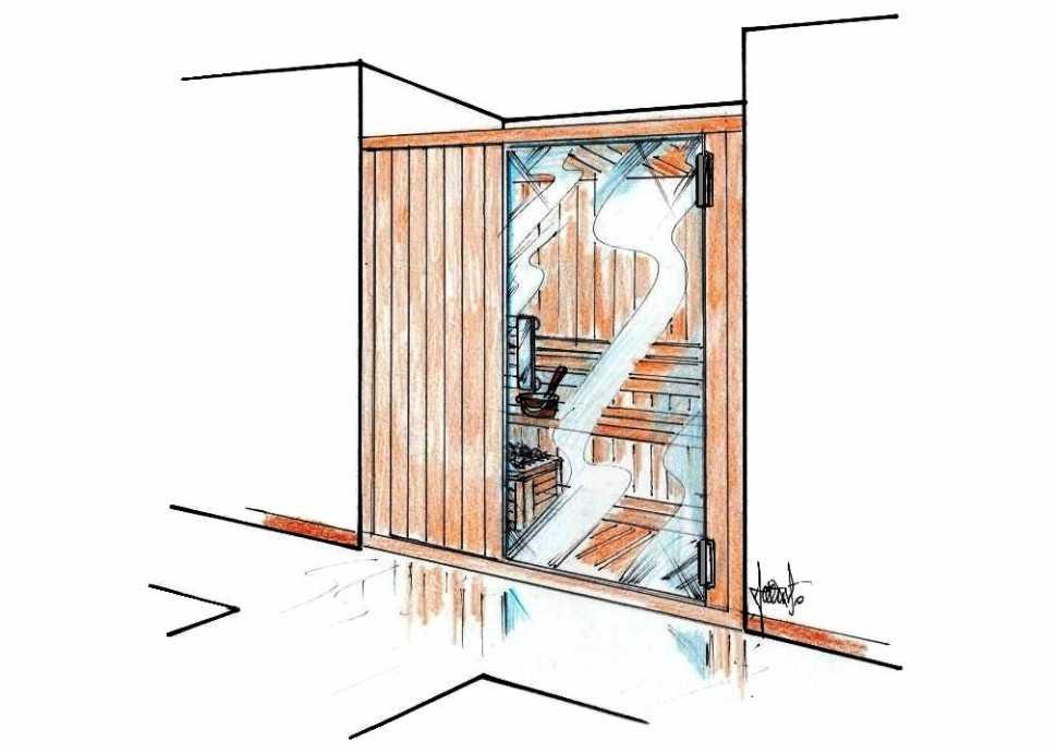 Progetto per sauna legno e vetro