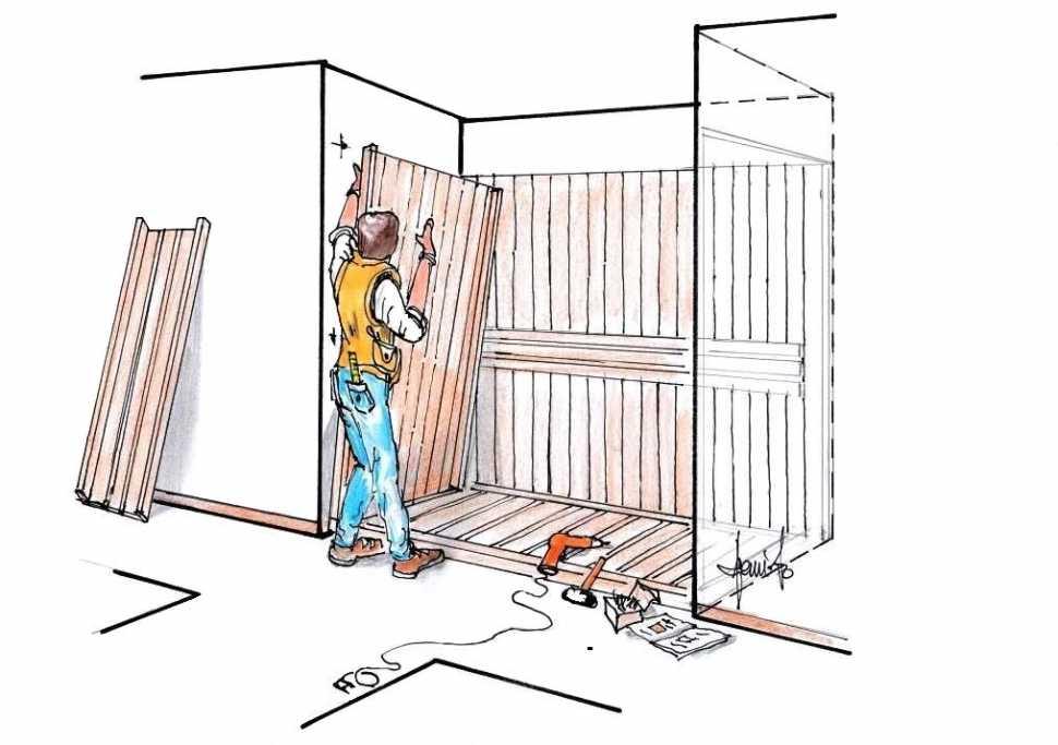 Installazione sauna legno e porta in vetro