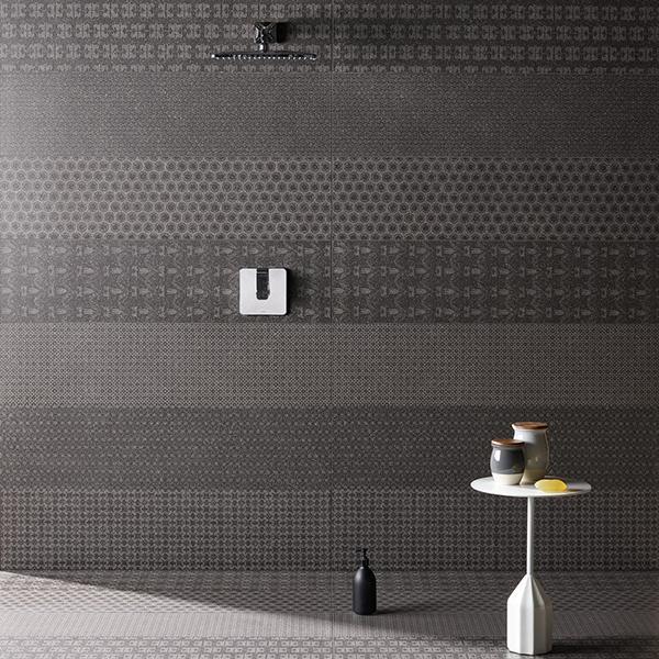 Decorazioni pareti lastre gres Cover Mutina e Patricia Urquiola