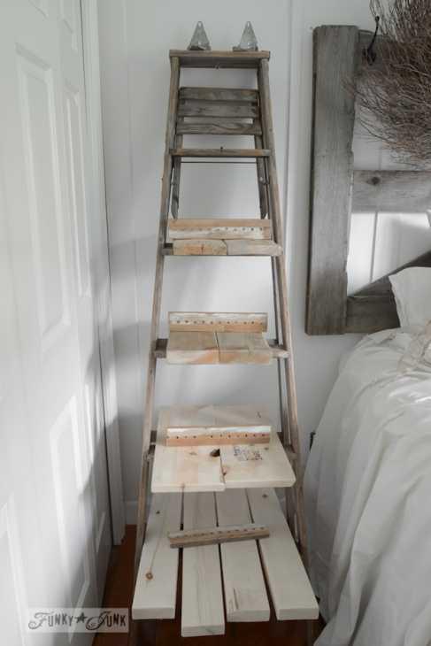Riciclo creativo scale in legno: scaffale per la camera, parte 1, da funkyjunkinteriors.net