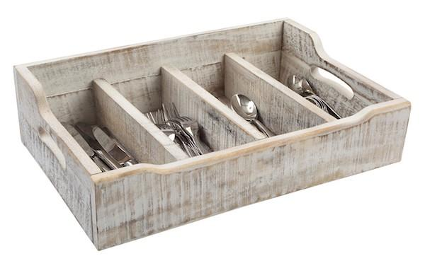 Utensili cucina vintage Westwing: portaposate in legno di acacia