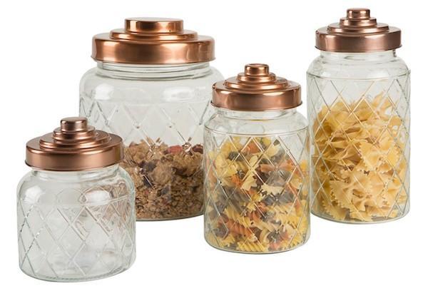 Accessori cucina vintage: set barattoli in vetro e acciaio inox Westwing