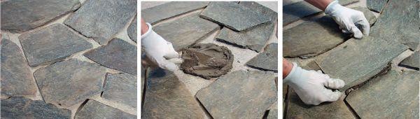 Posa delle pietre per la pavimentazione
