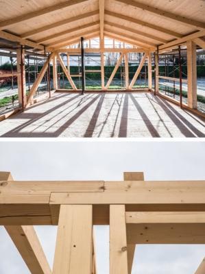 Struttura a traliccio di casa sostenibile in terra cruda, Ton Gruppe