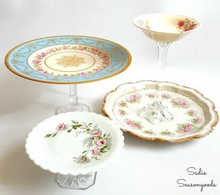Idee riuso creativo: portafrutta con piatti spaiati, da sadieseasongoods.com