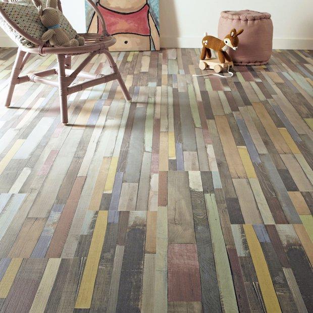 Parquet colorato in legno grezzo multicolor, da Leroy Merlin