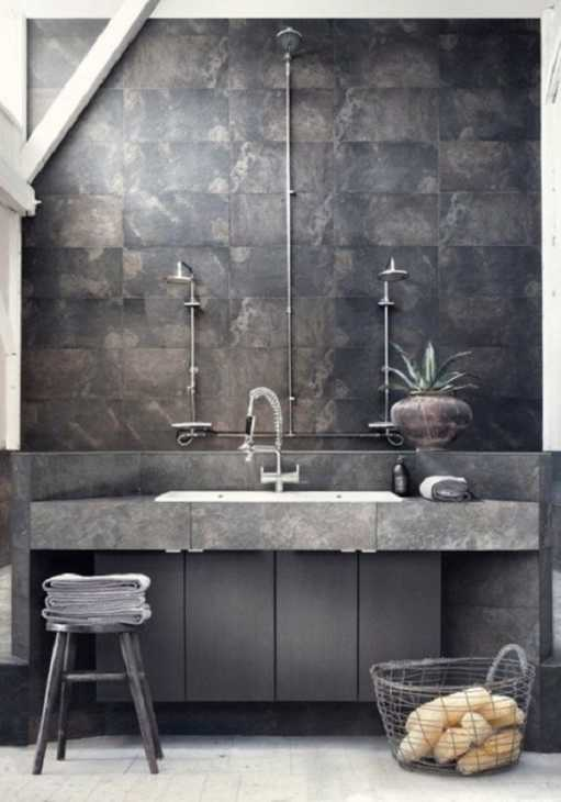 Arredare con stile rustrial: il bagno, da delightfull.eu