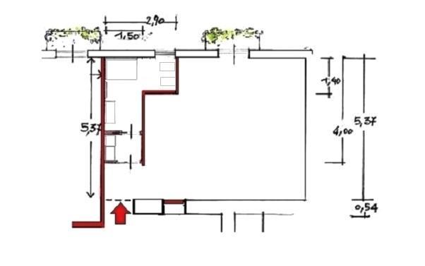 Pianta di progetto per monolocale 40 mq