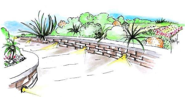 Illuminazione da giardino: faretti incassati lungo il muretto del viale