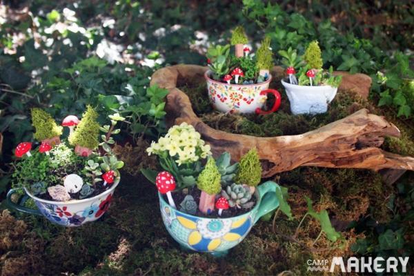 Pianta verde coltivata in tazza tutorial di Campmakery.com