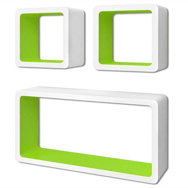 Mensole cubo bianco e verde - Vida XL