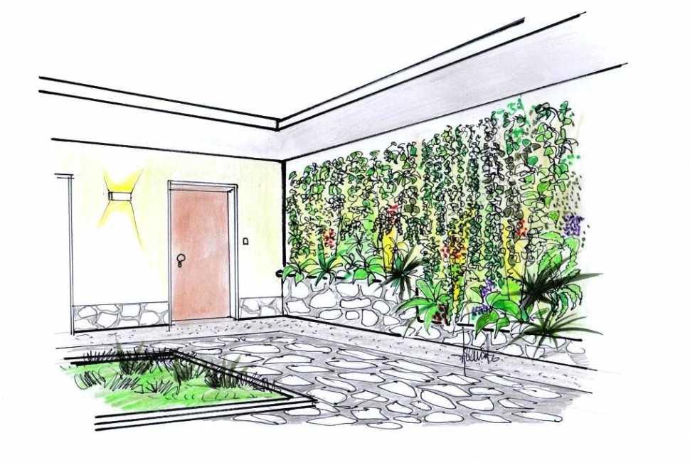 Giardino verticale esterno: disegno di progetto
