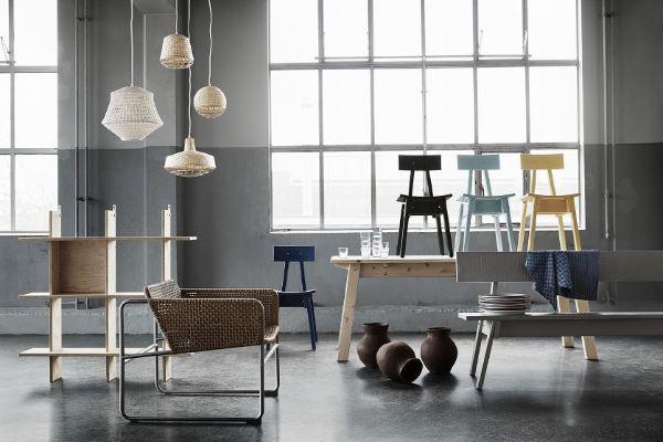 Lampadari Ikea da soggiorno in bamboo, collezione Industriell
