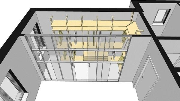 Schema progettuale per una cabina armadio con interparete. Arch. Pierri R.