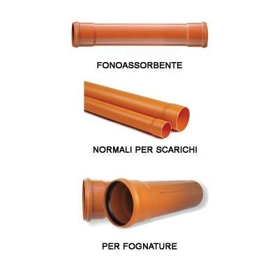 Tubi in pvc serie rossa per scarichi e fognature di Erre Gross