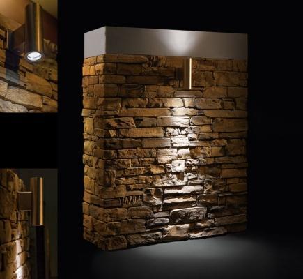Installazione decorativa per interni con luce e pietra artificiale di Geopietra