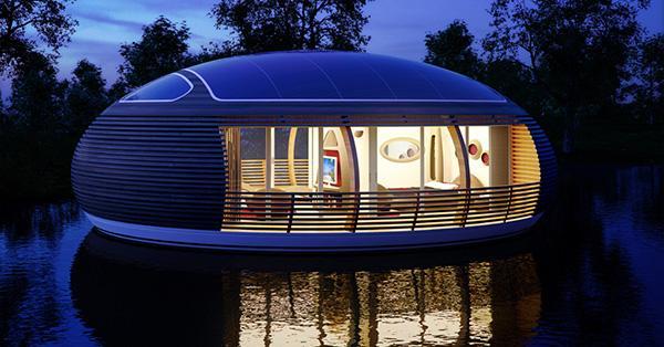 Rendering notturno di una casa galleggiante dell'inseriamento Water Nest 100, by EcoFloLife