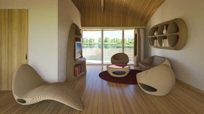 Interno delle case galleggianti WaterNest, by Giancarlo Zema Design Group