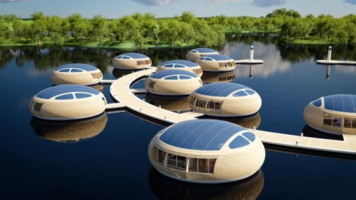 Villaggio di case galleggianti WaterNest, by Giancarlo Zema Design Group