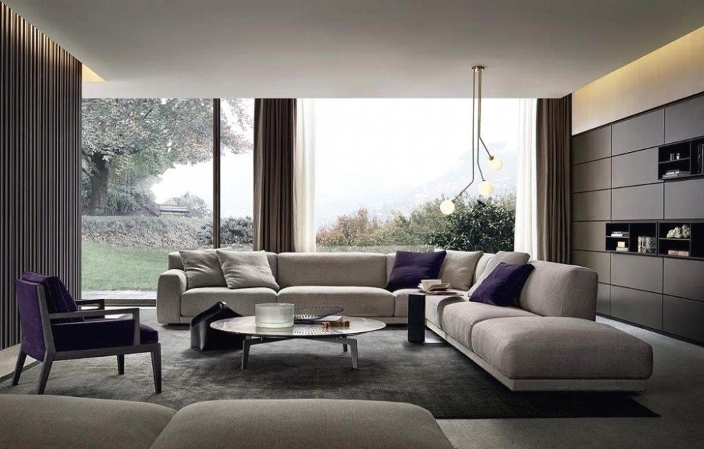Zona giorno con divani Paris Seoul di Poliform