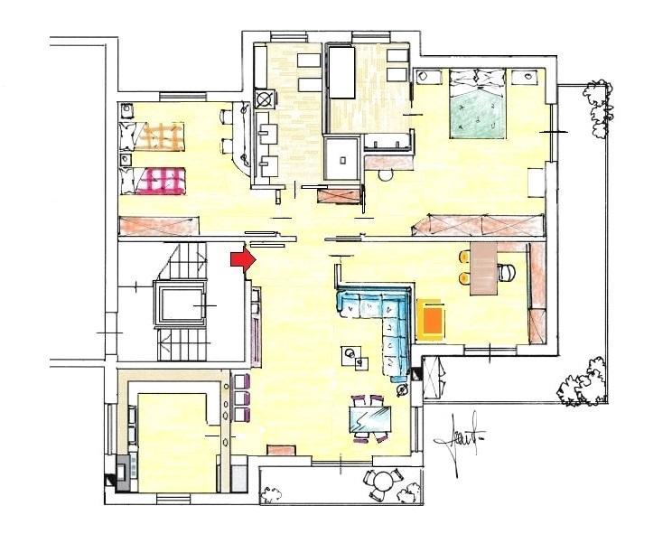 Appartamento quadrilocale: pianta di progetto arredata